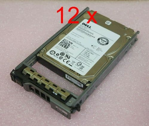 """12 x Dell 7T0DW 600GB 2.5"""" SAS 6GB/s 10K SFF Hot Plug Server Hard Drive in Caddy"""